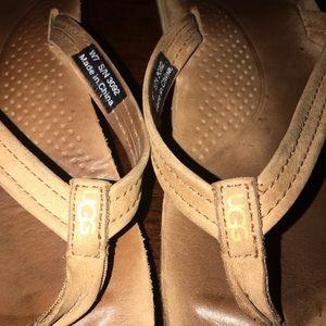 Women's Ugg Brand leather flip flops